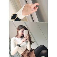 ATTYSTORY - Slit-Sleeve Ribbed Knit Top