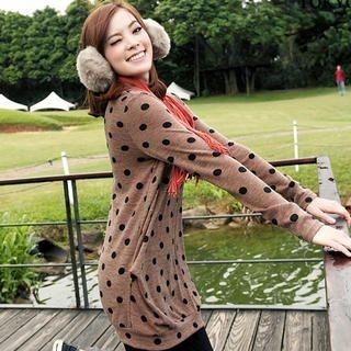 Tokyo Fashion - Polka Dot Tunic with Furry Collar
