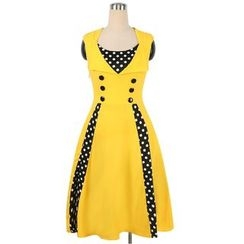 Forest Of Darama - Polka Dot Panel Sleeveless A-Line Dress
