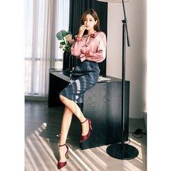 J-ANN - Pleat-Front Pencil Skirt