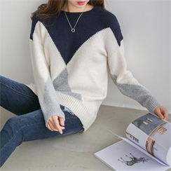 PEPER - Drop-Shoulder Color-Block Knit Top