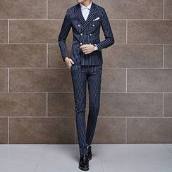 Besto - Set: Pinstriped Double-breasted Blazer + Vest + Dress Pants