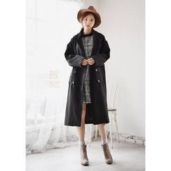 GOROKE - Notched-Lapel Double-Breasted Long Coat