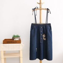 Nycto - Embroidered Denim Skirt