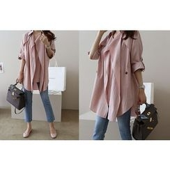 DAILY LOOK - Tab-Sleeve Notched-Lapel Trench Coat