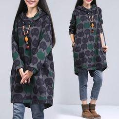One2One - Patterned Fleece-lined Long Hoodie