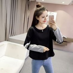 Bloombloom - Striped Sleeve Sweatshirt