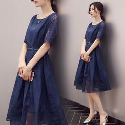 Ashlee - 短袖條紋拼接A字連衣中裙