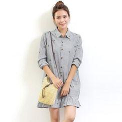 Waypoints - Pinstripe Embroidered Shirtdress