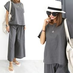 DANI LOVE - Set: Round-Neck Short-Sleeve T-Shirt + Band-Waist Wide-Leg Pants
