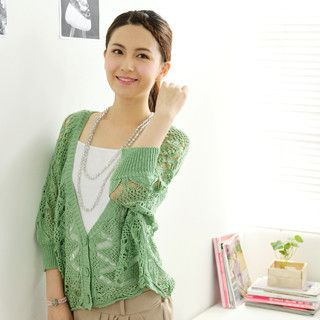 59 Seconds - Batwing Sleeve Open-Knit Cardigan