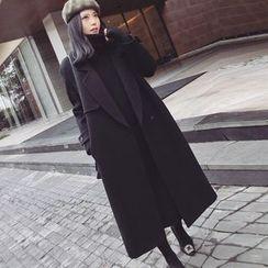lilygirl - 纯色平驳领大衣