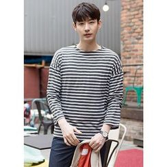 GERIO - Round-Neck Stripe T-Shirt