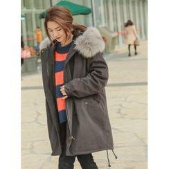LOLOten - Detachable Faux-Fur Collar Hooded Parka