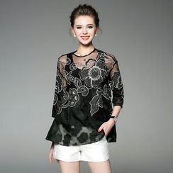 Ozipan - 3/4-Sleeve Embroidered Top with Camisole