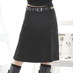 RingBear - 側三釦彩織腰帶中腰及膝A字裙