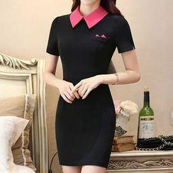 Eferu - Contrast Color Short-Sleeve Dress