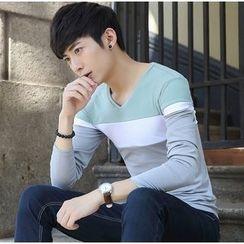 Izme - Color Panel V-Neck Long Sleeve T-Shirt