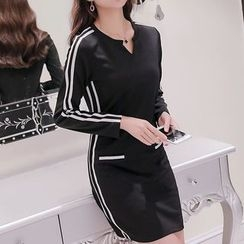 Q.C.T - Long-Sleeve Striped Sheath Dress