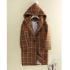 Pluvio - Plaid Hooded Woolen Coat