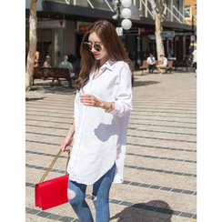 GUMZZI - Loose-Fit Cotton Long Shirt