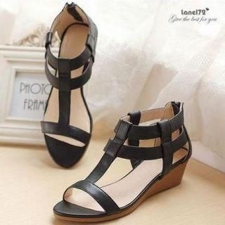 Lane172 - Genuine Lambskin T-Strap Wedge Sandals
