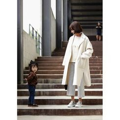 ssongbyssong - Open-Front Wool Blend Coat