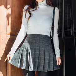 chuu - Herringbone Mini Pleat Skirt