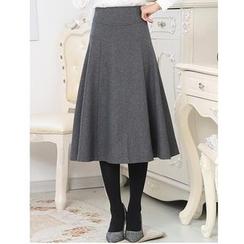 LITI - Woolen A-Line Midi Skirt