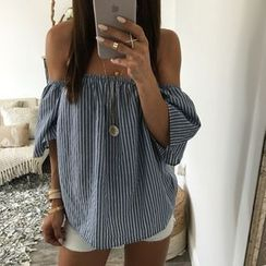 Fundae - Stripe Off-Shoulder Top