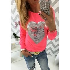 Dream a Dream - Sequined Heart Long Sleeve T-Shirt