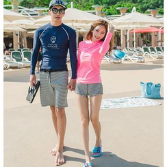 Anfory - Couple Matching Skull Printed Long-Sleeve Rashguard
