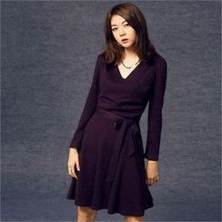 MAGJAY - Surplice-Wrap Knit Dress with Sash