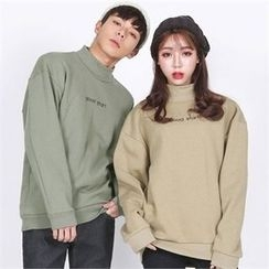 Superstar.i - Couple Mock-Neck Lettering Top