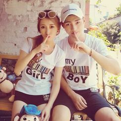 Sunny Station - Couple Matching Set: Print Short-Sleeve T-Shirt + Shorts