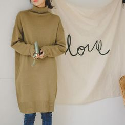 JUSTONE - Turtle-Neck Drop-Shoulder Knit Dress