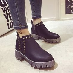 Crystella - Block Heel Studded Ankle Boots