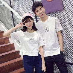 INUS - Couple Matching Short-Sleeve Lettering T-Shirt