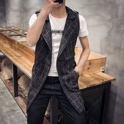 Bay Go Mall - Plaid Long Vest