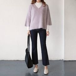 Seoul Fashion - Brushed-Fleece Lined Semi Boot-Cut Jeans