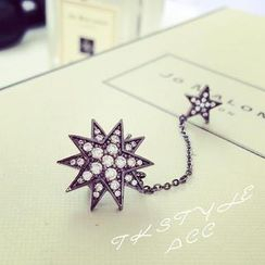Ticoo - Single Rhinestone Star Ear Cuff with Earrings