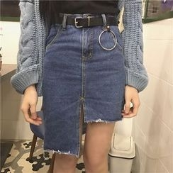 Big Cat - Asymmetric Hem Denim Skirt