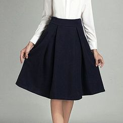 Fashion Street - Pleated A-Line Midi Skirt
