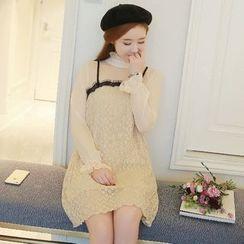 Sienne - Long-Sleeve Mock Two Piece A-Line Dress