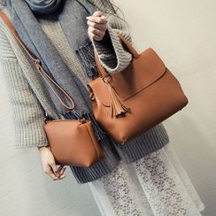 Bag Affair - Set : Faux Leather Tasseled Handbag + Shoulder Bag