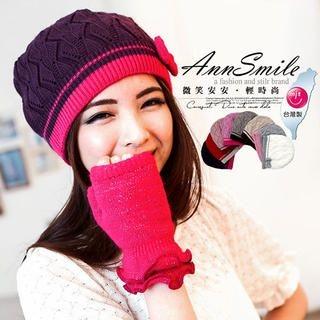 AnnSmile - Bow-Accent Knit Beanie