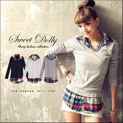 Sweet Dolly - Inset Long-Sleeve Dotted Top Plaid Shirt