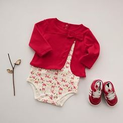 MOM Kiss - Baby Mock Two-piece Bow Short-Sleeve Bodysuit