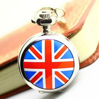 Miss Girl - Union Jack-Print Pocket Watch