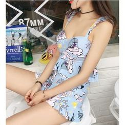 Jumei - Printed Frilled 2-Piece Swimdress